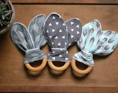 Gender Neutral Wood Teether, Grey White Baby Teething Toy, Gray, Triangles, Feathers, Geos, Eco Friendly Gear, Bunny Ear Teether
