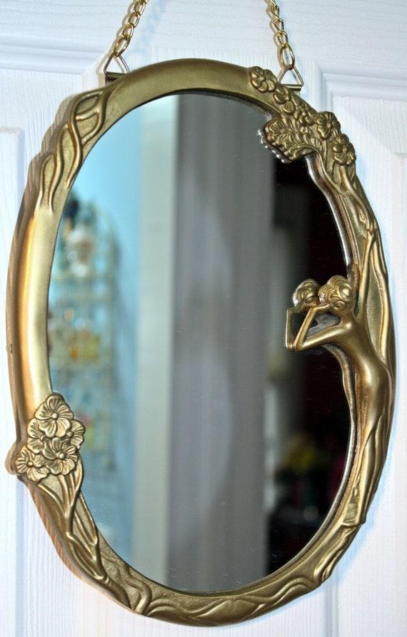 Mirror Art Deco Art Nouveau Lady Brass Reflecting Pool
