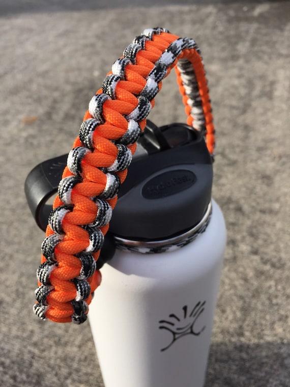 Paracord handle for hydro flask bottle orange amp black cobra knot