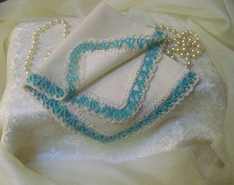 Personalized, Handkerchief, Hanky, Embroidered, Monogrammed, Hand Crochet, Lace, Lacy, Ladies, Bridesmaids, Aqua, Turquoise, Ready to ship
