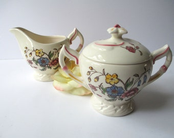 Vintage Vernonware Mayflower Cream and Sugar Set