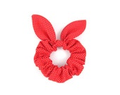 Bunny Ears Knot Bow Hair Scrunchie, Red and White Pindot