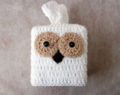 Owl Crochet Tissue Box Cover, Country Cottage Home Decor, Kleenex Holder