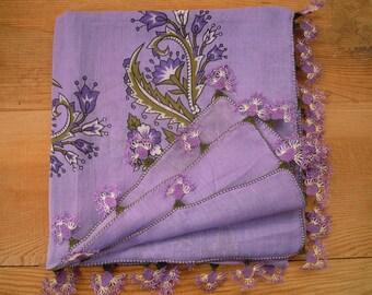 lilac turkish scarf, needle lace