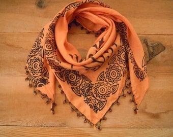 cotton scarf, triangular peach
