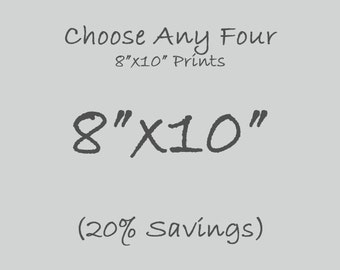 """8""""x10"""" Group of Four, Print Set, Your Choice of Photography, 20% Savings, Home Decor Wall Art, Interior Design, Hostess Gift, for Coworkers"""