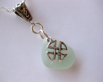 Sea glass Celtic necklace - sterling silver seaglass jewelry Seaglass Cross necklace Beach Glass Jewelry