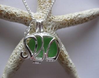 Sterling Elephant  jewelry elephant necklace SS sea glass jewelry