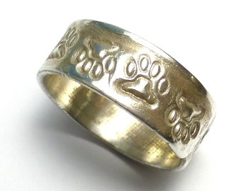 Ring Band Pet Paw Print Custom Size Stamped Recycled Fine Silver One Of A Kind Handmade Lisajoy Sachs Design PMC Precious Metal Clay Rings