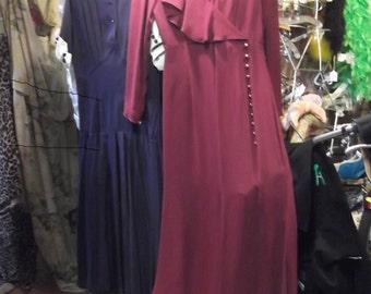 Retro 1930s Maroon Sheer crepe chiffon Dress, sz S