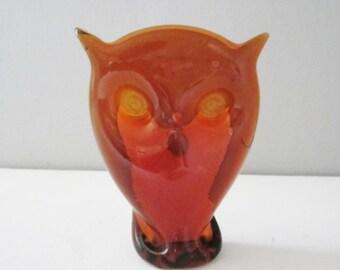 Vintage Amber Viking Glass Epic Owl Head