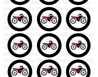 Motor Bikes - Red & Black - 2 inch Circle Digital Printable Sheet - Commercial use for Cupcake Toppers, Magnets, Paper Crafts and Products