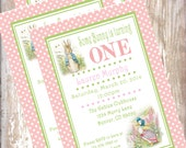 Peter Rabbit Birthday Invitations Beatrix  Potter bunny  Easter 1st birthday party decorations