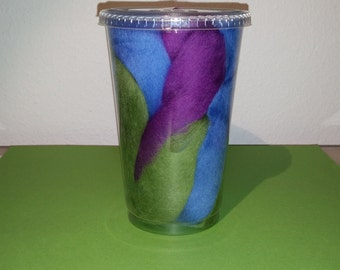Wool for spinning in purple, blue and green