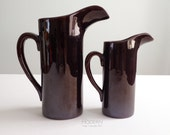 2 LaGardo Tackett Rockingham Brown Pitchers 1958 Mid Century Modern