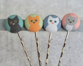 Cat Lady Mix and Match Fabric Covered Button Bobby Pin Set