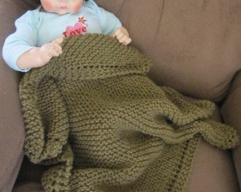 Knit baby blanket, acrylic yarn (camel colored)