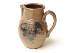 Salt Glazed Pottery Pitcher from Rowe Pottery Works Cambridge Wisconsin - Country Basket Collection 1983 Ken Nekola