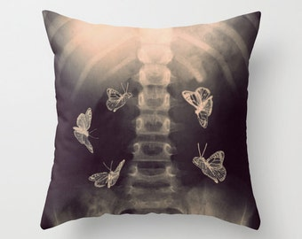 Stomach Butterflies, Photo Pillow, Xray, Butterflies, Skeleton, Bones, Surreal, Photography, Fine Art, Bedding, Home Decor, Living Room