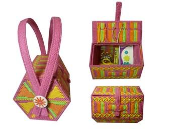 Plastic Canvas Sewing Basket PDF Instant Download