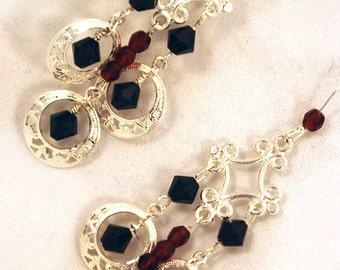 Garnet Swarovski Crystal Silver Plated Filigree Chandelier Earrings - Marsala Red