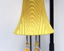 Windchime, Yellow Light Shade Windchime, Glass Globe Wind Chime, Repurposed Windchime, Glass Wind Chime, Recycled, Upcycled, Patio Decor