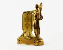Vintage Salesman Trophy, Art Deco Statue, Grolier Society 25 Order Award, Encyclopedia Award