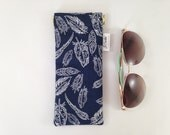 Navy Feather Metal Flex Frame Sunglasses or Glasses Case. Padded Sunglasses Case. Padded Glasses Case. Sunglasses Holder. Glasses Pouch