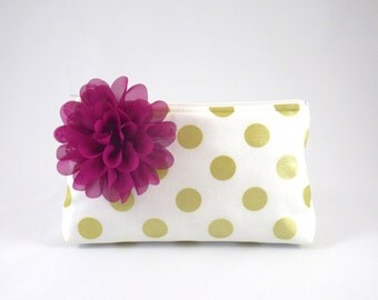 White & Metallic Gold Polka Dot Zipper Clutch with Flower Brooch   Cosmetic or Makeup Bag   Custom Bridesmaid Gift   Design Your Own