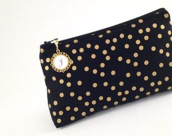 Black and Metallic Gold Confetti Polka Dot Monogrammed Zipper Clutch   Cosmetic or Makeup Bag   Custom Bridesmaid Gift   Nightfall Fabrics