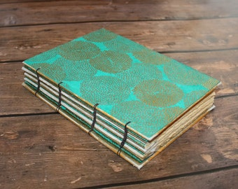 Aqua and Gold Wedding Guestbook, Anniversary Gift, Gold Foiled Journal, Sign in Book, Unique Gifts for Her