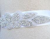 SEASON SALE -Bridal Dress sash, Art Deco Bridal  Crystal SASH, rhinestone ribbon sash belt - 2015 Bridal  Trends Jeweled belt --