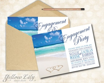 Beach Engagement Party Invitation- Engagement Party / Couples Shower /