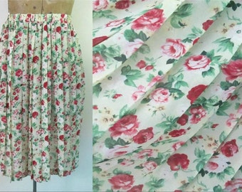 Floral Pleated Skirt Sheer Chiffon Vintage 1980s Leslie Fay Size 6
