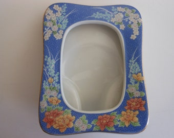 vintage porcelain picture frame Asian Oriental  blue pattern background 4 1/2 by 5 1/2 inches