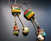 Summer Dancer Earrings, Hot Salsa Colours, Goldfill ear wires, Unique Ceramic Tags, Mini gemstones and handmade lampwork, 1970's style