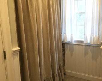 Ruffled Shower Curtain in Lightweight Oatmeal Washed Linen--Pleated Curtain with Header Band-Made for Standard Shower Curtain Rings