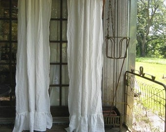 READY TO SHIP Today- 1 Pair of Ruffled Vintage White Washed Linen Curtains-Rod Pocket Ruffled Panels-Unlined Romantic Ruffled Curtains