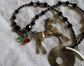 Black and Silver Horse Necklace