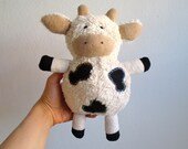 Organic cow toy, plush, stuffed animal, cuddly, soft, eco-friendly, baby, toddler gift, white, black, beige, can be vegan