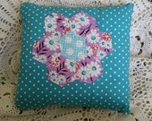 Prim Spring Blue and Lavender Hexagon Pillow~ MATGOFG