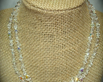 1960s Crystal Dula strand Necklace and Earring Set.