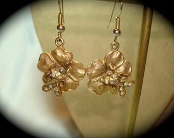 Vintage Golden Fly Earrings.