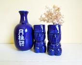 Vintage Cobalt Blue Sake Bottle and Tiki Shot Glasses - Mid Century, Tropical Decor Barware - Mismatched Drink Set