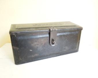 Vintage Metal Storage Box, Black Fordson Tractor Tool Box