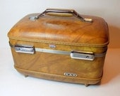 60s Faux Leather Train Case, American Tourister Traincase, Makeup Case, Hardshell Brown Luggage