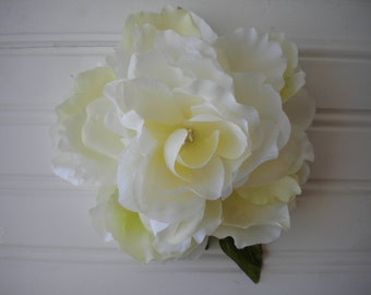 Soft Green and White Peony Hair Clip