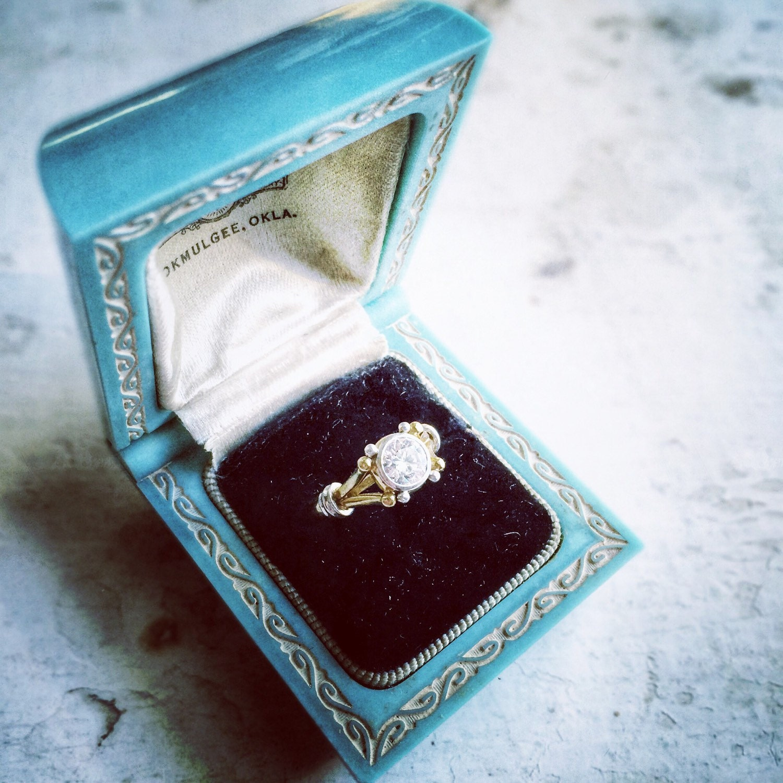 ring box wedding engagement vintage white ringbox celluloid