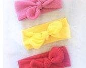 Strawberry lemonade knotted  headband set