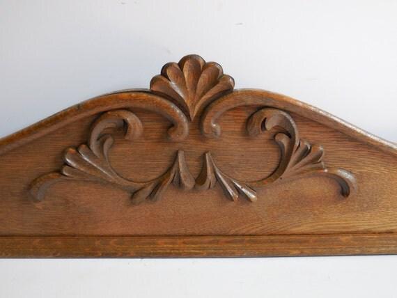 Architectural Wood Pediment : Vintage architectural furniture salvage wood oak pediment